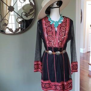 BOHO sheer sleeve dress medium